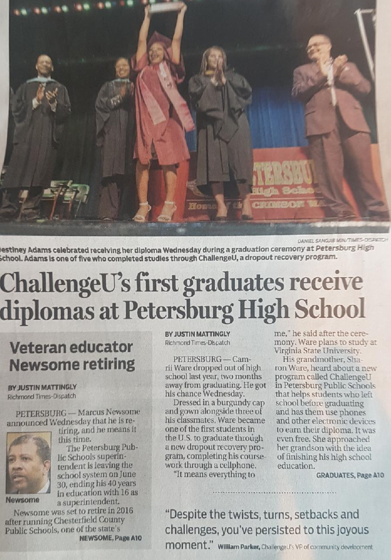 richmond news paper front page article